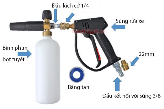 Quy trình kết nối bình phun bọt tuyết cầm tay với súng rửa xe